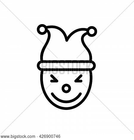 Black Line Icon For Entertaining  Amusing Jester Engrossing Cheerful Joker Circus Funnyman