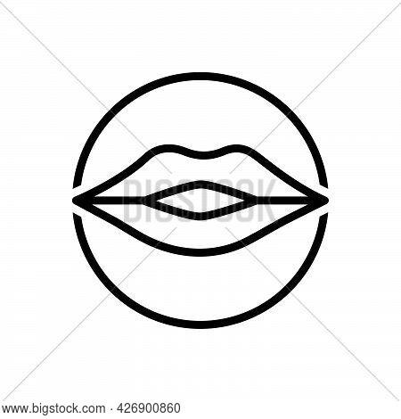 Black Line Icon For Kiss Lip Body-part Love Glossy Romantic Female Sexy