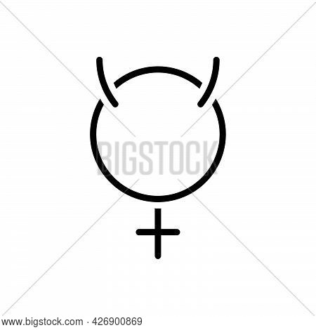 Black Line Icon For Mercury Retrograde Astrology Astronomy Planet Caduceus Devil Horoscope