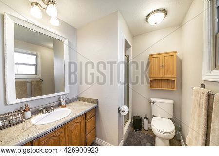 Bathroom Interior With A Traditional Craftsman Design