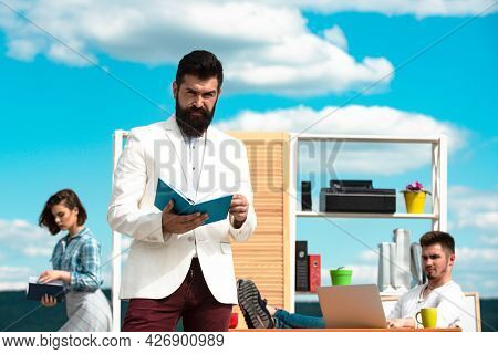 Business Concept. Successful Business Men Boss In Office Office Manager Or Secretary Outdoors. Caree
