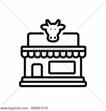 Black Line Icon For Dairy Milk Product Farm Shop Farmhouse Husbandry Store