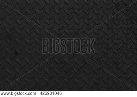 Black Steel Sheet With Embossed Diamond Pattern, Used For Floors And Industrial Building. Black Vint