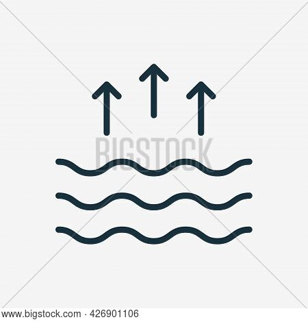 High Tide Linear Icon. Waves On The Sea Or Ocean. Editable Stroke. Vector Illustration
