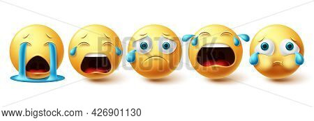 Emoji Emoticon Crying Vector Set. Emojis Sad Collection And Yellow Icon For Graphic Elements Isolate