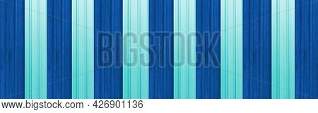 Panorama Of Blue Painted Galvanized Fence Texture And Background Seamless