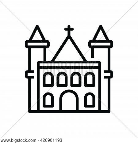 Black Line Icon For Parish Church Christianity Confession Worship Steeple Evangelical