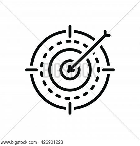 Black Line Icon For Purposes Motive Objectives Goal Ambition Target Challenge Accurate