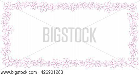 Vector Hand Drawn Frame, Border From Pink Outline Small Flowers In Doodle Style. Cute Simple Primiti
