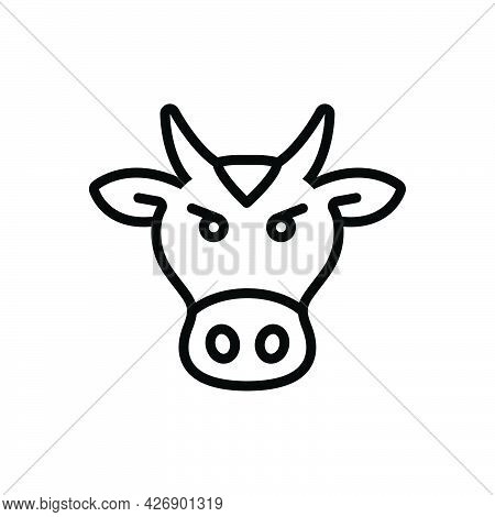 Black Line Icon For Beast Animal Cattle Livestock Brute Fauna Cow