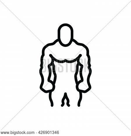 Black Line Icon For Broader Fitness Gymnastics Bodybuilder Muscle Exercise Trainer
