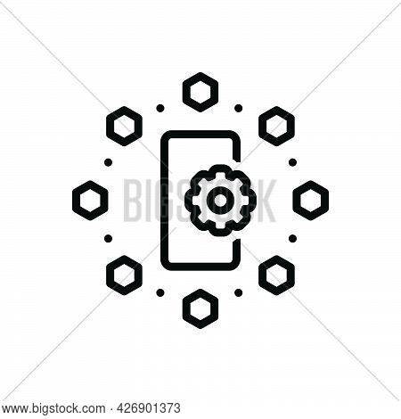 Black Line Icon For Functionality Process Service Gearwheel Hierarchy