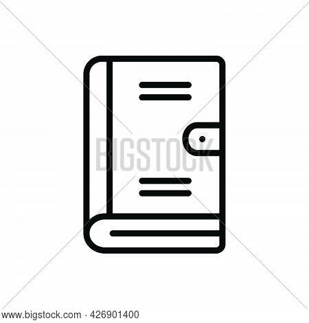 Black Line Icon For Handbook Album Catalog Knowledge Encyclopedia Guideline