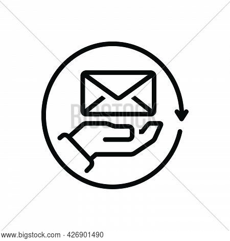 Black Line Icon For Receivers Message Mail E-mail Communication Postcard