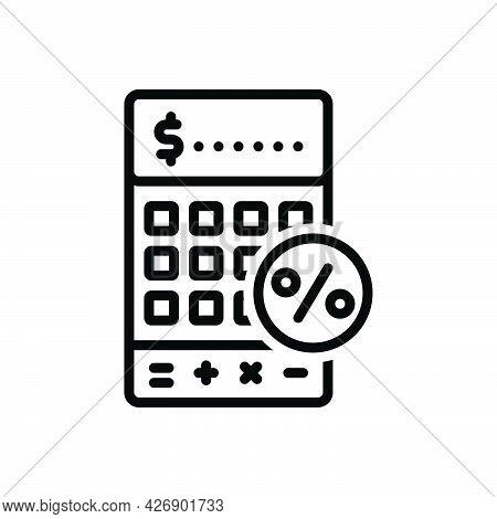 Black Line Icon For Vat Tax Finance Percentage Paper Value Report