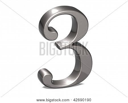 3D Set Silver Number On White Background