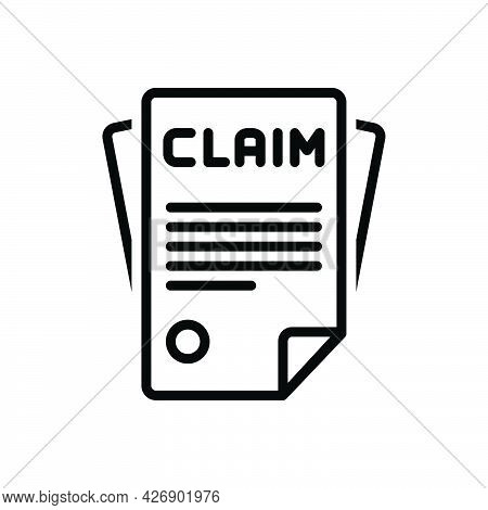 Black Line Icon For Claimed Allege Insurance Bill Declare Paper Form Declare