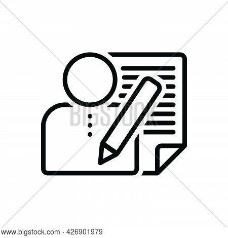 Black Line Icon For Editors Author Novelist Poet Writer