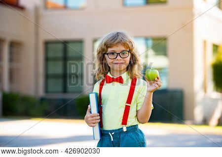 Smiling Little Student Boy Wearing School Backpack And Holding Exercise Book. Portrait Of Happy Pupi