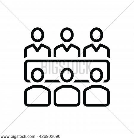 Black Line Icon For Meets People Talk Adjoin Converge Conjoin Conference Gather