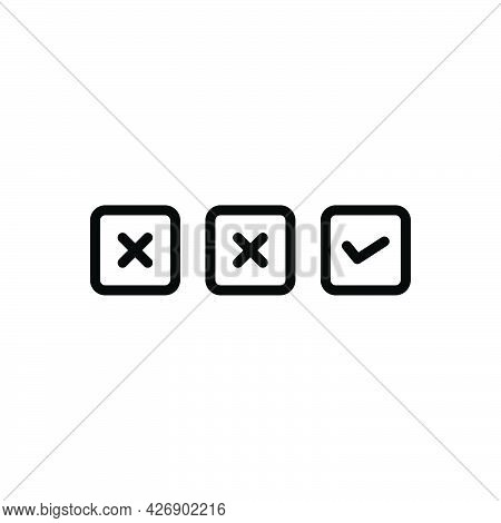 Black Line Icon For Final End Closing Eventual Checklist Wrong Right