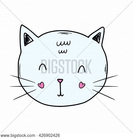 Funny Kitten In Doodle Style. A Cat Face For Children Card Or Printing On Clothes.
