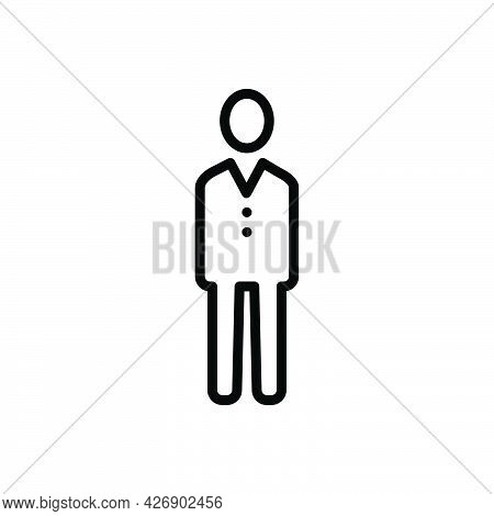 Black Line Icon For Adult Guy Young Male Person Human Gentleman Fellow Avatar
