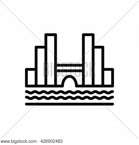 Black Line Icon For Amsterdam Building Bridge City Holland Dutch Landmark