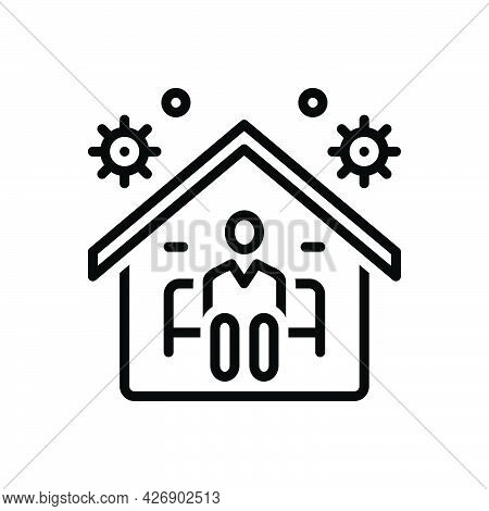 Black Line Icon For At Stay Live Residence Stay-put Home Inhabit Sitting