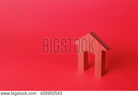 Red Arch House Figurine. Affordable Housing. Rent Of Real Estate. Repair And Renovation, Modernizati