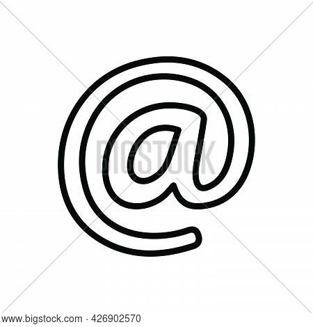 Black Line Icon For At Sign Rate And Arroba At-the-rate-of Email