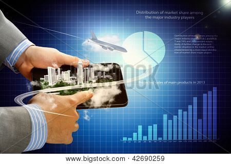 Image of businessman hands touching pad with virtual illustration against diagram background
