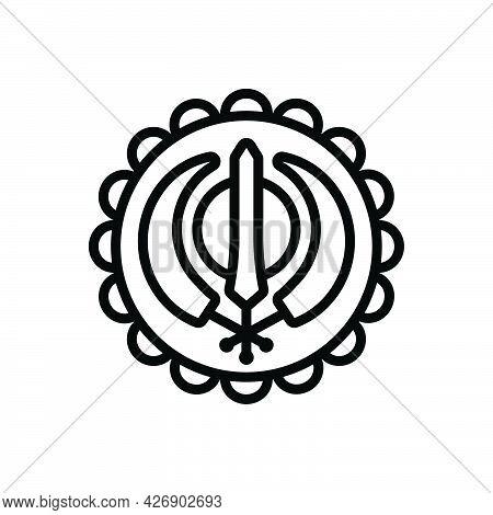 Black Line Icon For Gurupurab Guru-nanak Gurmukhi Gurpurb Guru-purnima Jayanti Birthday Festival