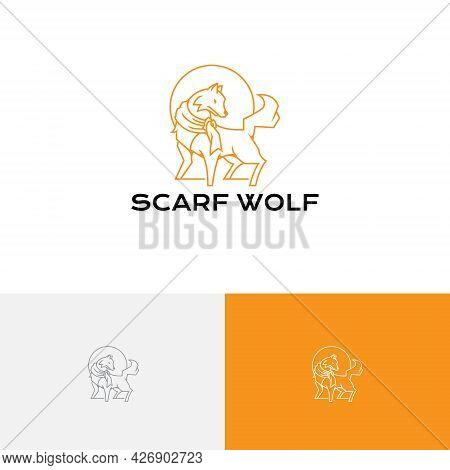 Cute Scarf Moon Wolf Wildlife Monoline Logo