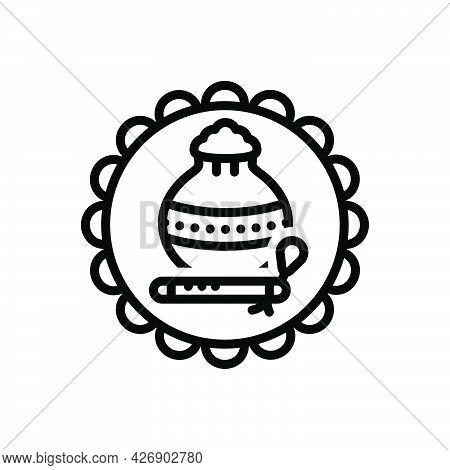 Black Line Icon For Janmashtmi Krishna Flute Makkhan-pot Birth Culture Celebration Festival