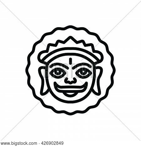 Black Line Icon For Mewar Lord-surya Colorful Heritage Celebration Festival Culture