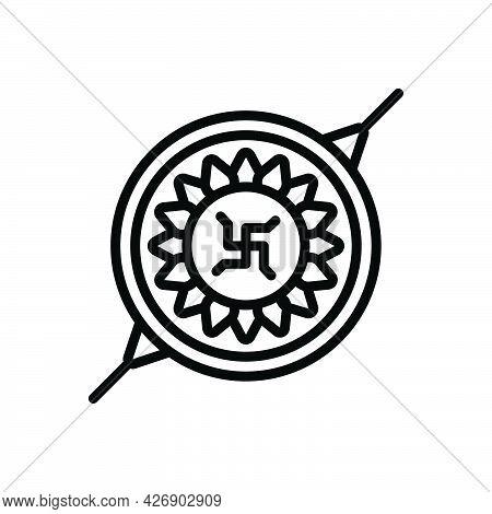 Black Line Icon For Rakshabandhan Rakhi Auspicious Brother-sister Bond Emotion Celebration Festival