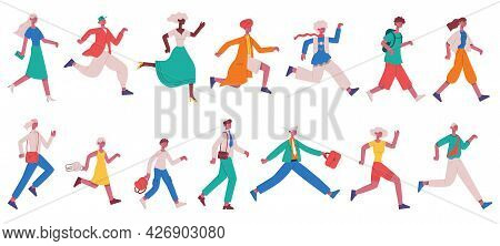Running Hurrying People. Jogging Adult Characters And Kids, Hurrying Business People Vector Illustra