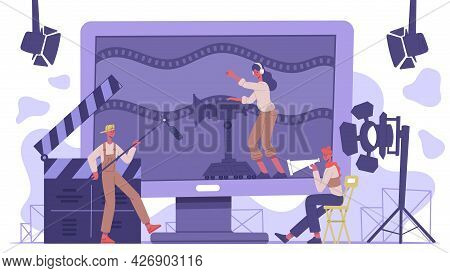 Movie Industry Concept. Cinematography Cinema Production, Film Shooting Team Isolated Vector Backgro