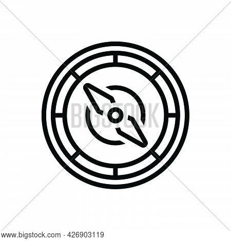 Black Line Icon For Navigate Compass Localization Orientation Guideline Direction Nautical Destinati