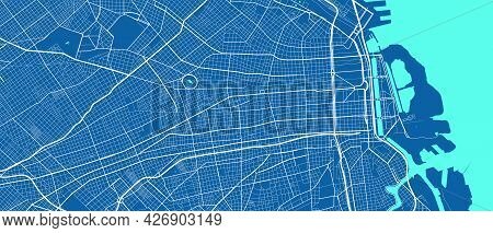 Detailed Map Of Buenos Aires City Administrative Area. Royalty Free Vector Illustration. Cityscape P