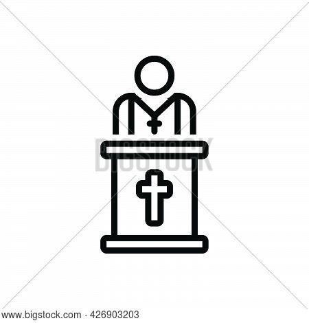 Black Line Icon For Pastor Priest Father Ecclesiastic Churchman Catholic