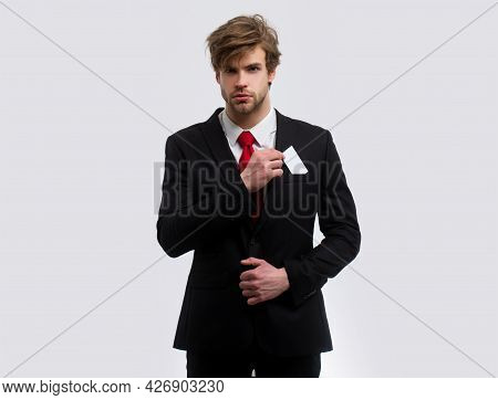 Business Man With Credit Card. Portrait Of Young Businessman, Isolated On White Background. Business