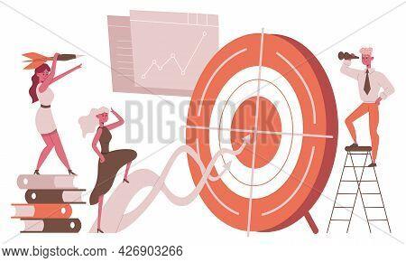 Business Goal Target Metaphor. Career Goal Achievement, Successful Business People Target Focused Ve