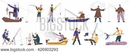 Fisherman Characters. Fishing Summer Outdoor Activities, Spinning Or Fishnet Fish Catching Hobby Rec