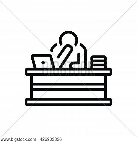 Black Line Icon For Upset Malaise Trouble Stress Depressed Desk Lonely
