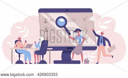 Employment Service Concept. Recruitment Managers, Recruiting, Headhunting Service Vector Illustratio