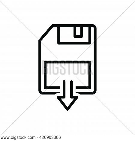 Black Line Icon For As Save Data Download File Archive Document