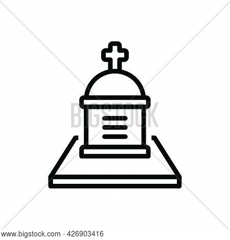 Black Line Icon For Cemetery Churchyard Necropolis Graveyard Burial-place Mortuary Death
