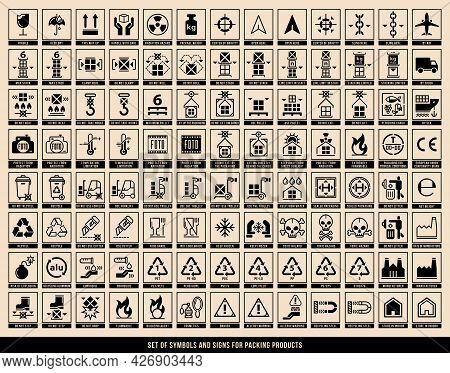 A Set Of Manipulation Symbols For Packaging Cargo Products And Goods. Marking The Box Or Packaging O